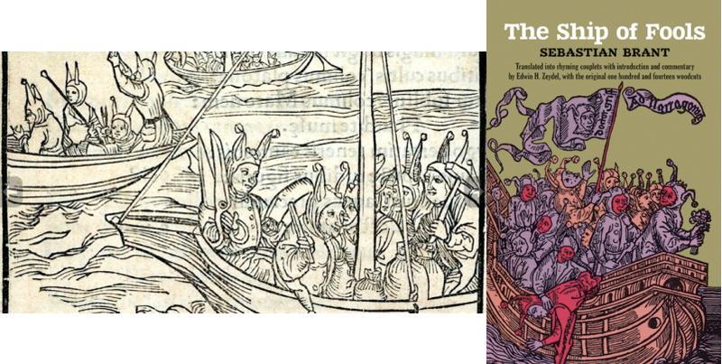 Себастьян Брант. Книга Корабль дураков. Обложка и иллюстрация.
