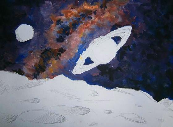 Как нарисовать космос и луну гуашью. Поэтапно, в картинках.