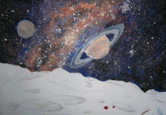Как нарисовать космос гуашью. Поэтапно. Картинки.