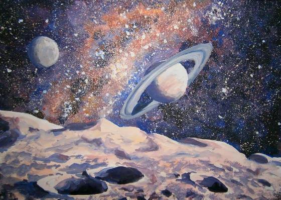 Как нарисовать космос гуашью. Поэтапно. Для начинающих.
