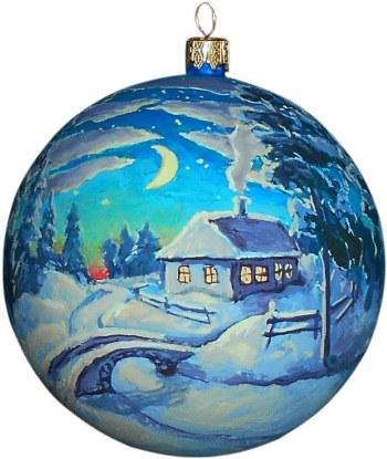 Домик в лесу авторский новогодний шар ручной работы.