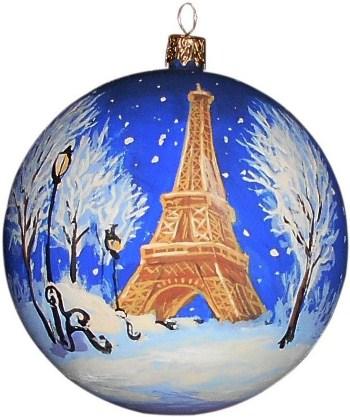Париж новогодний шар ручной работы.
