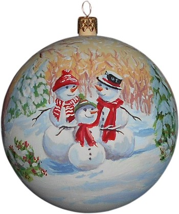 Семья снеговиков новогодний шар ручной работы.