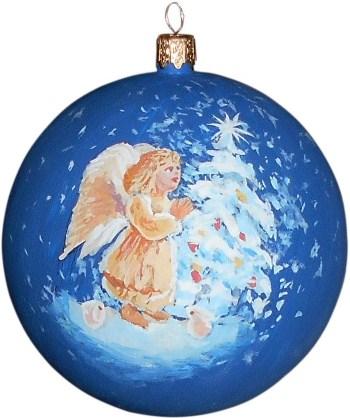 Рождественский ангел новогодний шар ручной работы.