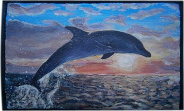 Дельфин чехол для телефона ручной работы.