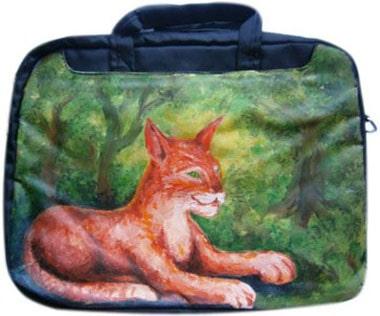 Кот в лесу сумка для ноутбука, с рисунком.