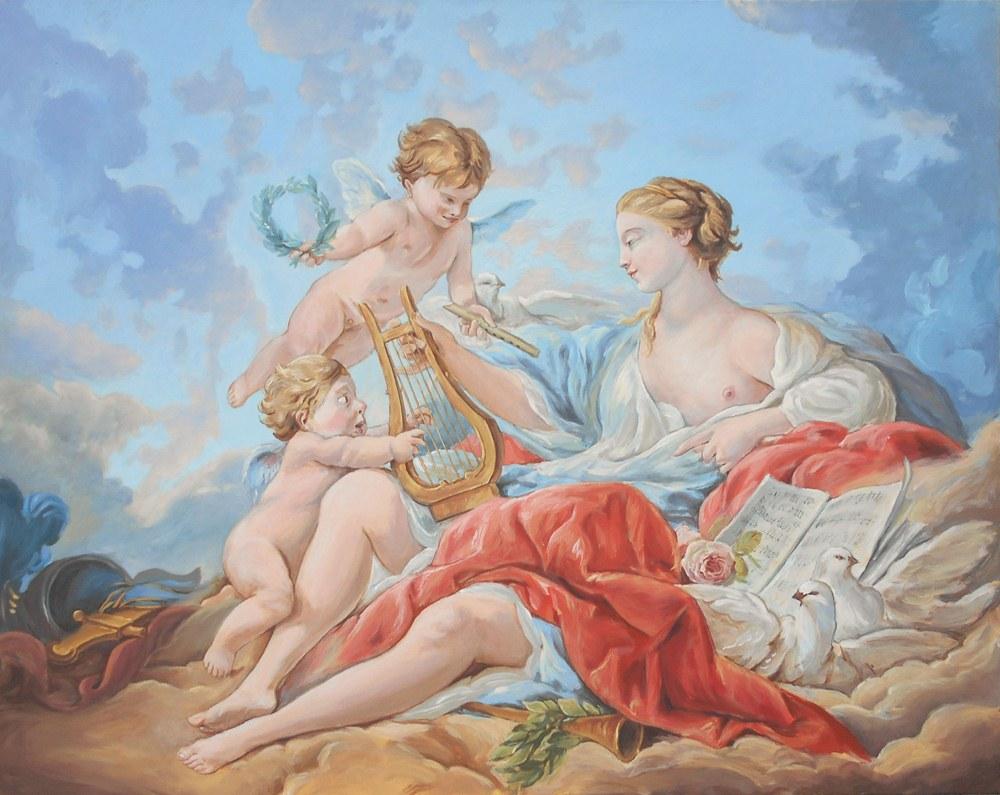 Копия / репродукция картины Франсуа Буше «Аллегория Музыки» купить Киев, Украина.