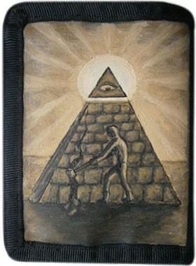 Пирамида кошелек ручной работы.