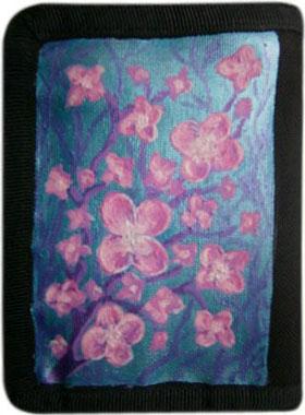 Розовые цветы кошелек ручной работы.