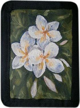 Белые цветы кошелек ручной работы.