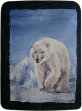 Белый медведь кошелек ручной работы.