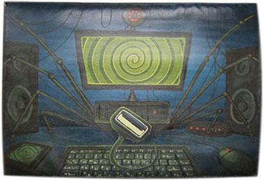 Компьютерный паук чехол для планшета с художественной росписью.