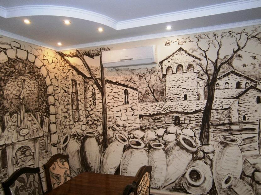Роспись стен. Камни. Подготовка стены под роспись.