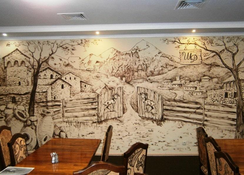 Черно белая роспись стен. | Роспись стен гризайль.