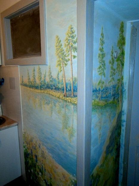 Роспись кухни. Роспись на стене маленькой кухни.