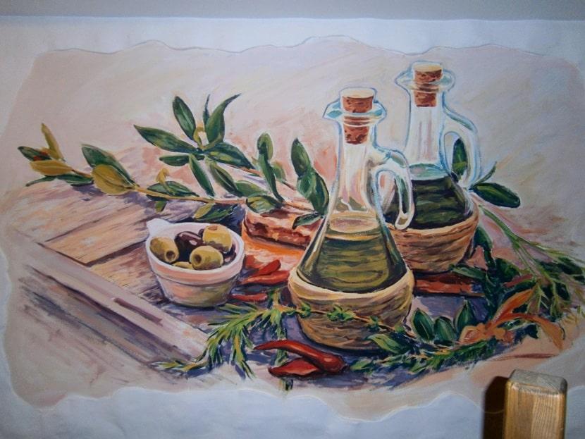 Роспись стен на кухне. Фото.