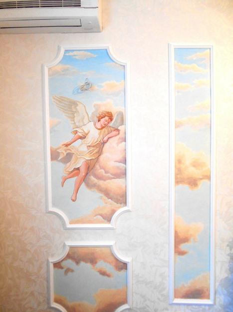 Роспись стен в спальне. Фото.