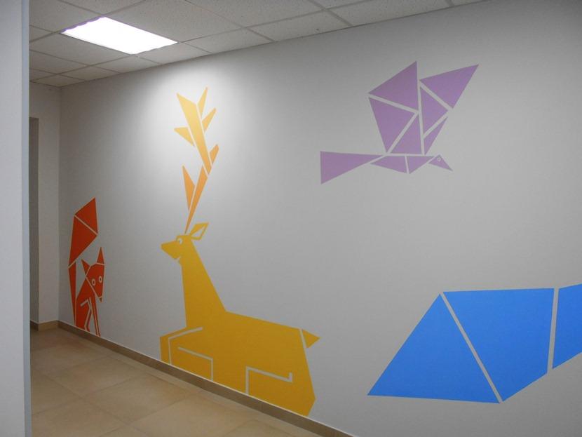 Роспись стен животные, птицы (для детей).