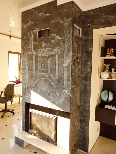 Декор камина, художественная роспись камина, фото.