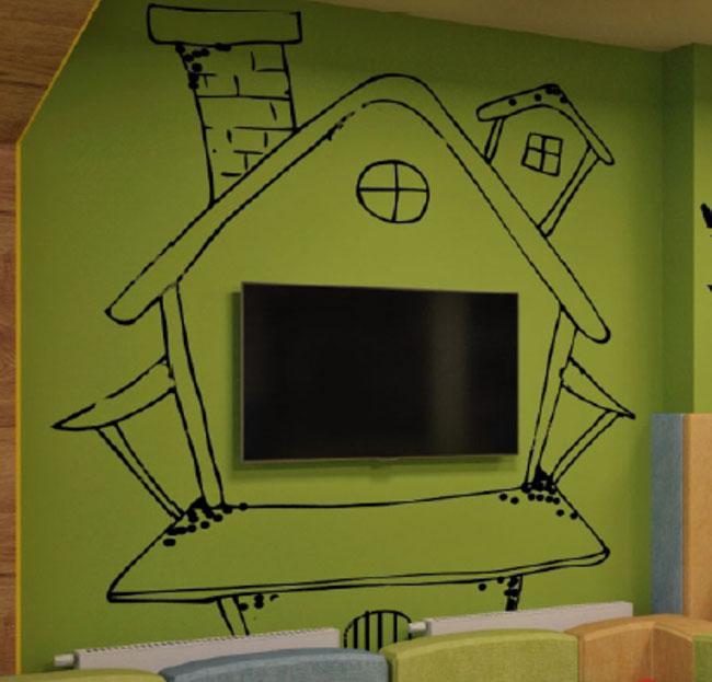 Простые детские рисунки на стену в комнату детям.