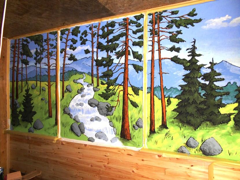 Рисунок на стене, сосны, ручей, ели.