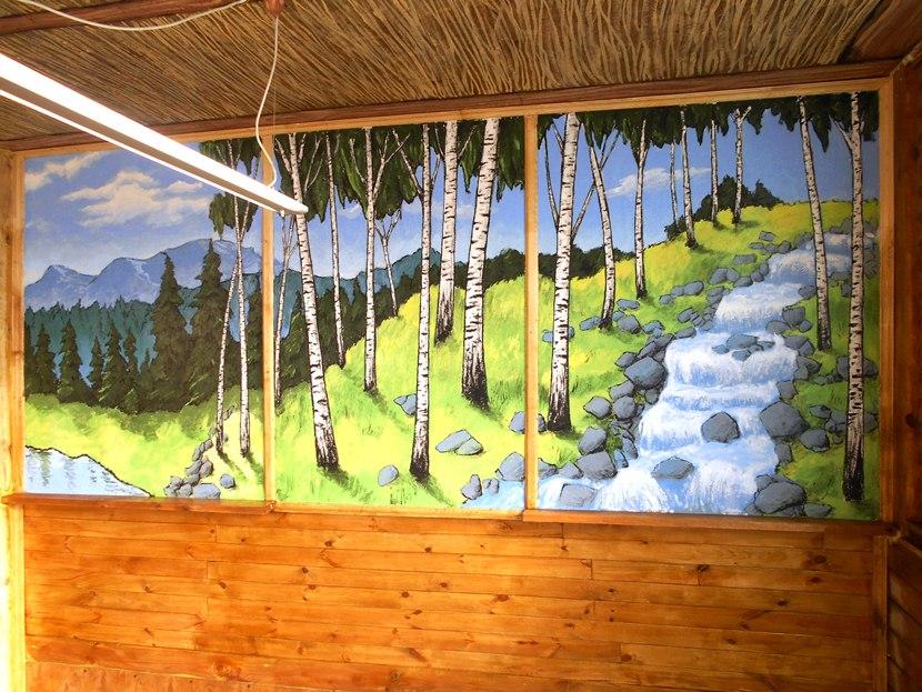 Рисунок на стене, пейзаж, березы, родник.
