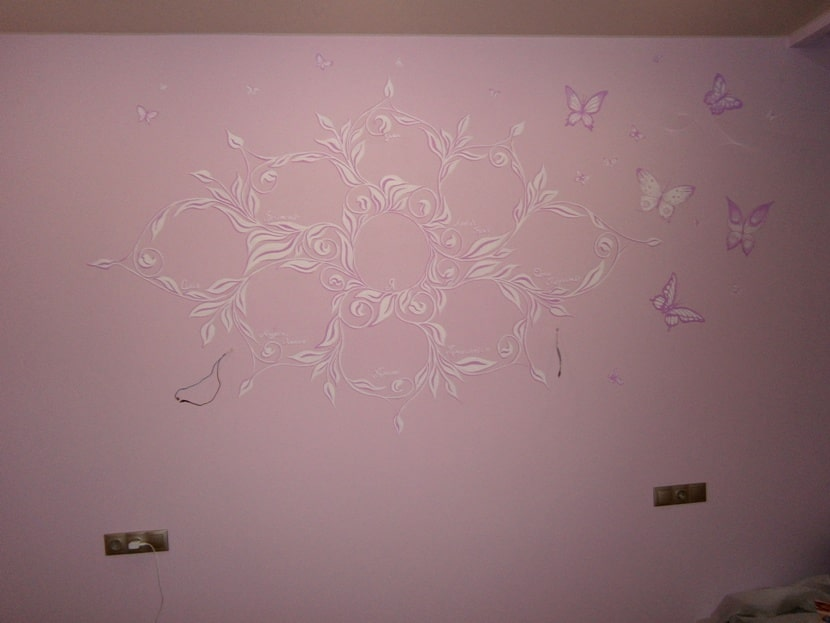 Роспись стен цена. Декоративная роспись стен в квартире.