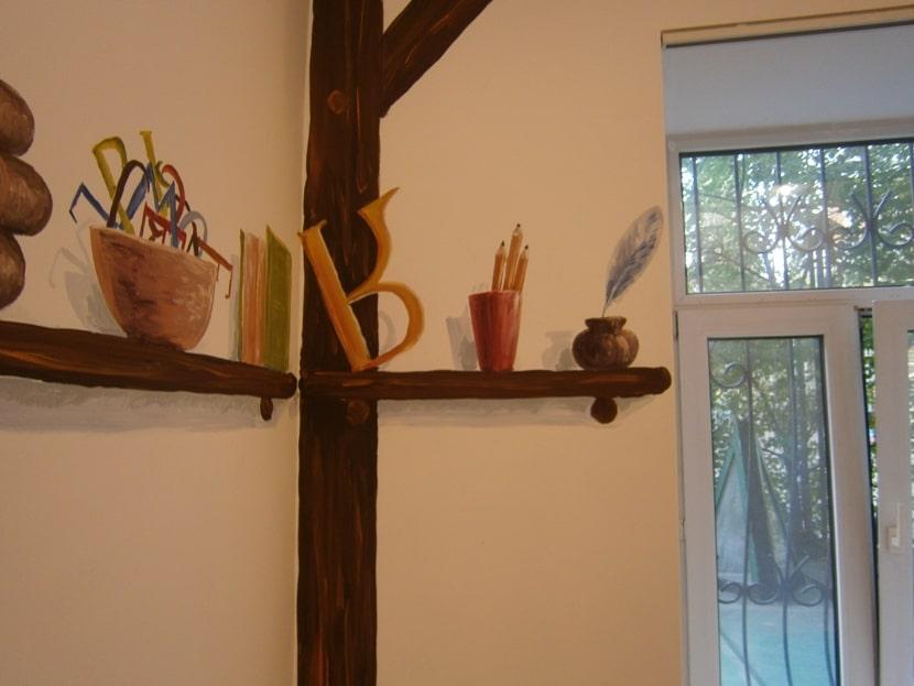 Ручная роспись стен. Образец росписи стен в детском саду.