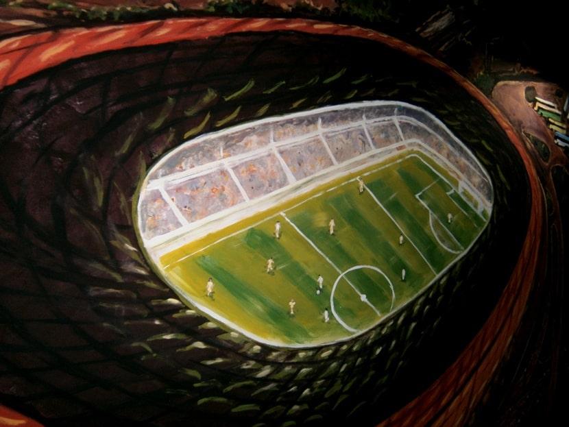Роспись стен спортивного зала акриловыми красками. Цена.