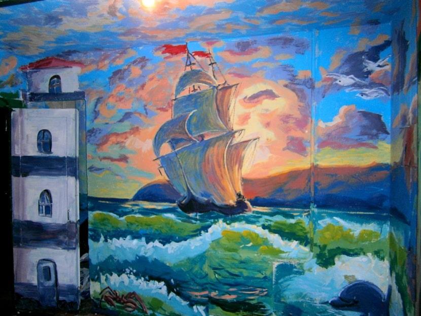 Роспись стен Море. Роспись стены в морском стиле.