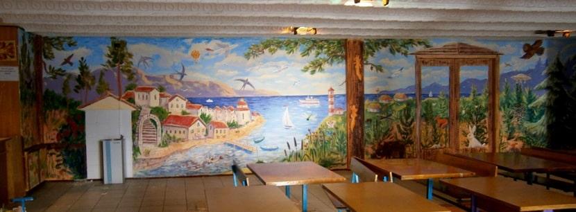 Декоративная роспись стен акриловыми красками. Фото.